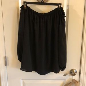 Strappy black blouse